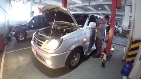 a Mitsubishi Adventure at service center