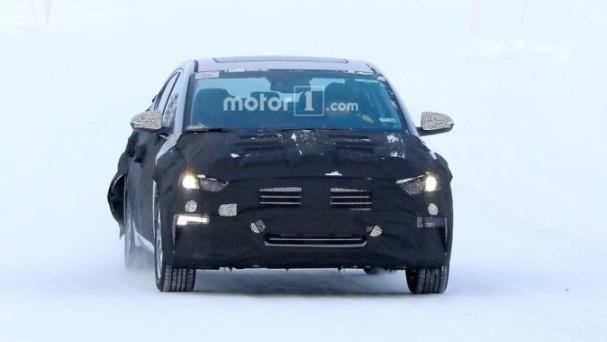 front fascia of the spied Hyundai Elantra EV