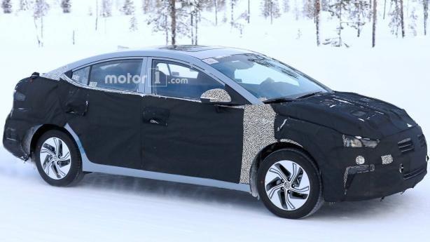 the angular front of the spied Hyundai Elantra EV