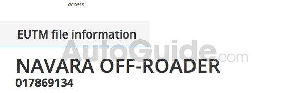 patent filing of Navara off-roader nameplate