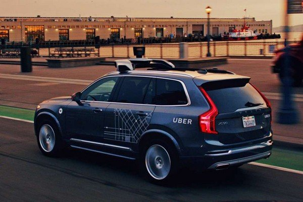 Self-driving Uber Volvo XC90 on the road
