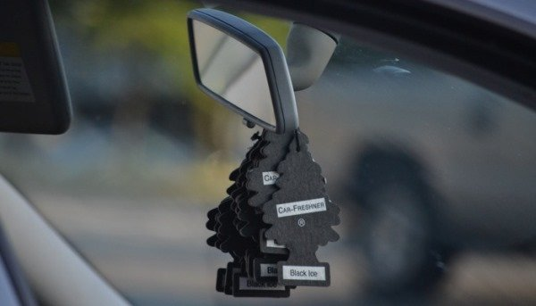 an air freshener hang in a car