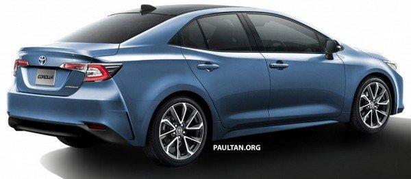 Toyota Corolla 2019 sedan rendering angular rear