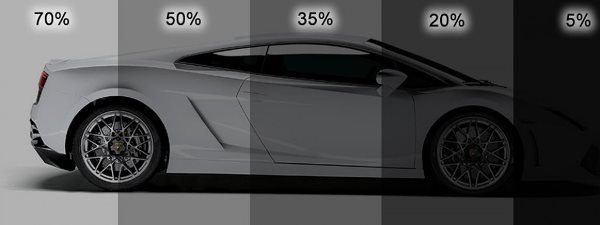 different shades of window tint