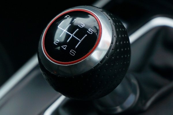 the gearshift of a car