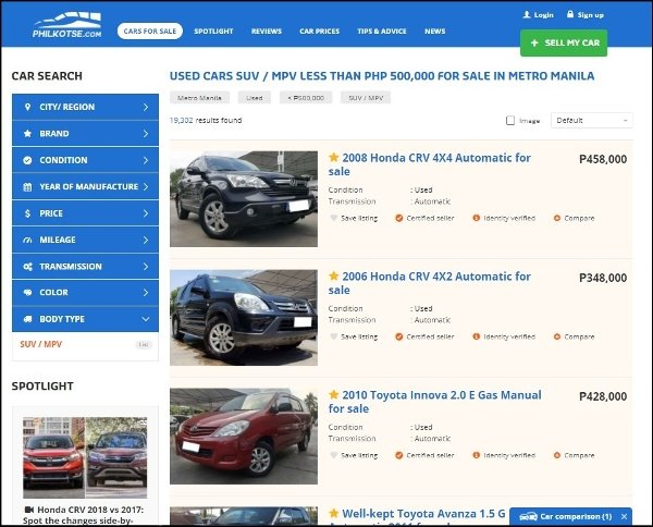 screenshot on Philkotse.com SUVs for sale page