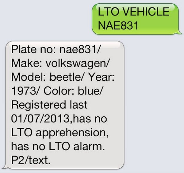 text LTO to check plate number