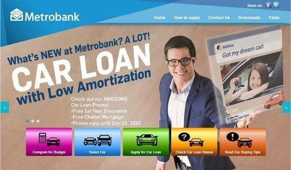 Metrobank car loan promo in the Philippines - one of the best bank having lowest interest rates 2018