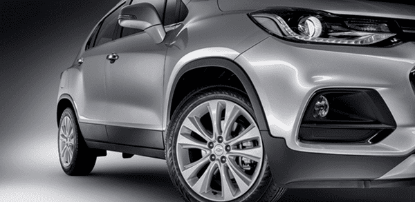 The front wheel of The Chevrolet Trax 2018