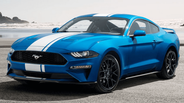 The angular front of the Ford Mustang
