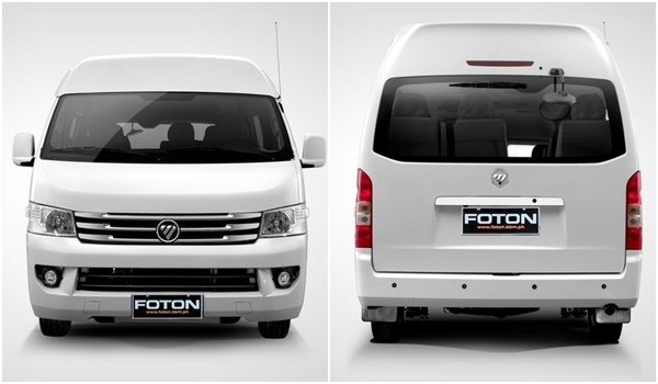 2018 Foton Traveller exterior: front and rear view
