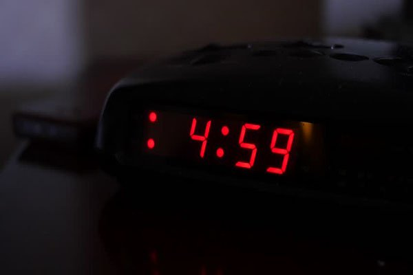 a clock showing 4.59 am