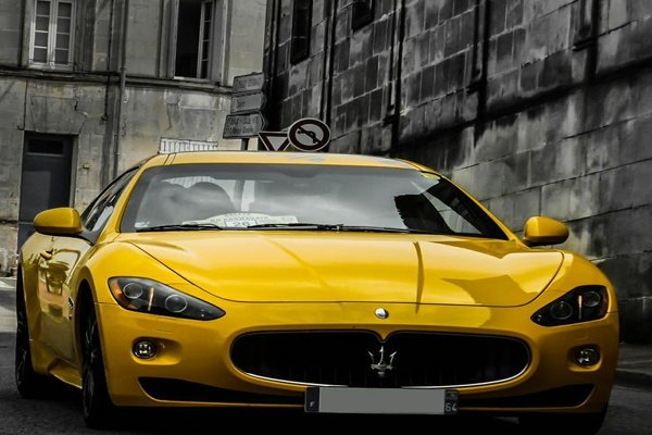 Angular front of a yellow sports car