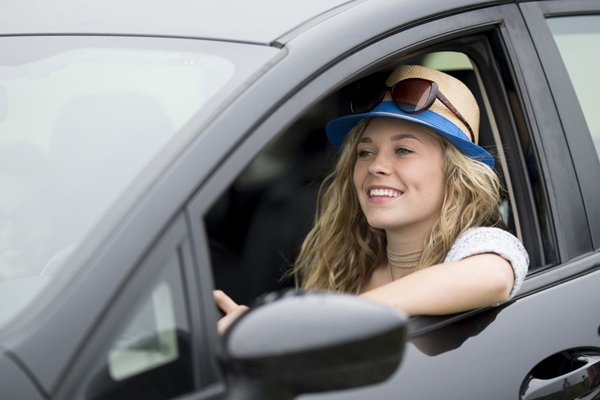 Smiling in a car