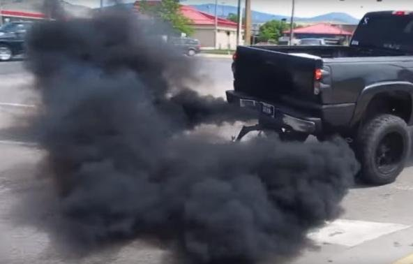 Black smoke from a diesel-fueled car