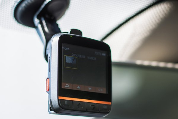 Compact dash cam with small LCD