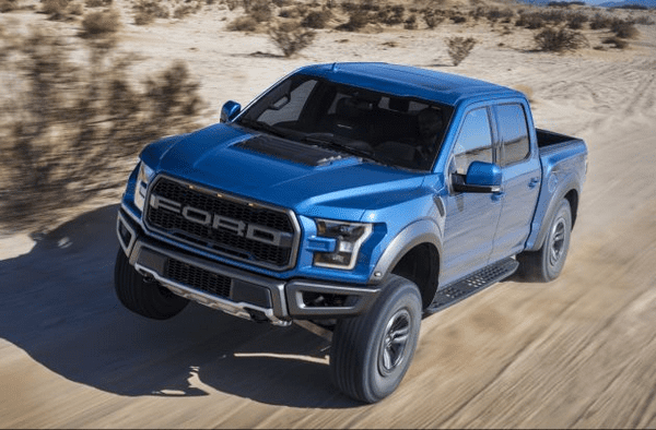 angular front of the Ford F-150 Raptor 2019