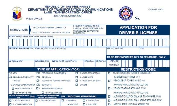 Application for Driver's License (ADL) in the Philippines