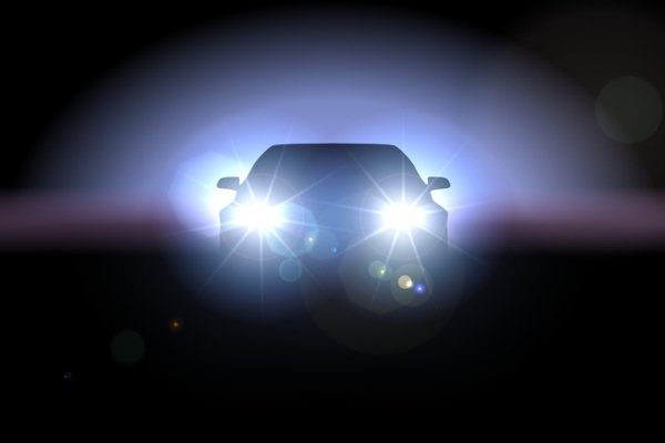 Car with headlights turned on