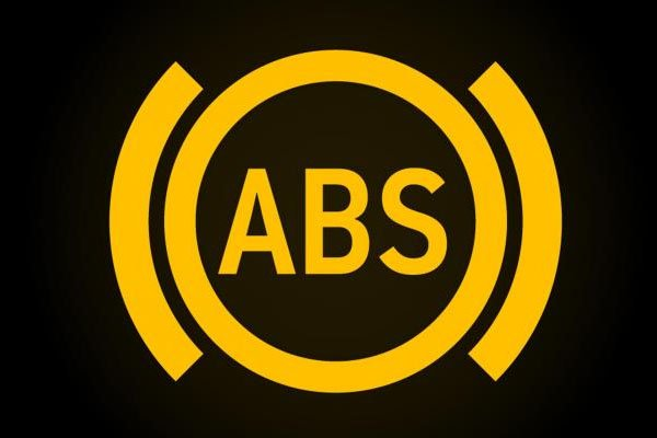 A photo of ABS symbol on dahsboard