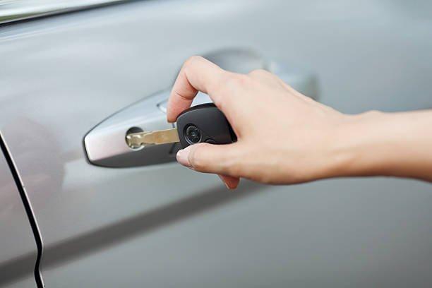 Opening car door with key