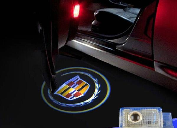 Welcome light on a Cadillac car
