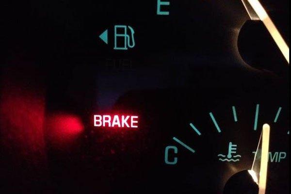 Brake warning light on dashboard
