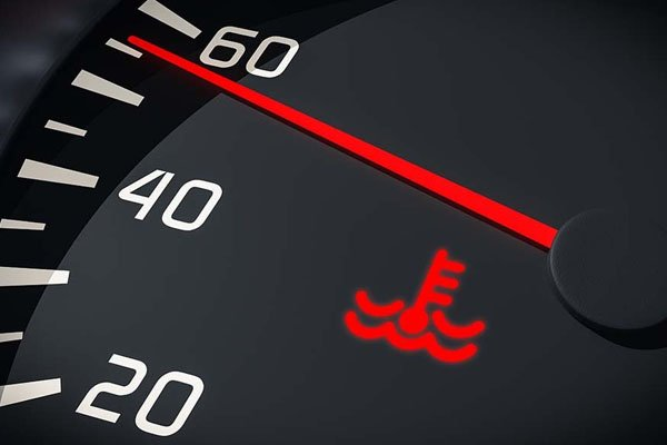 Engine temp warning light on dashboard
