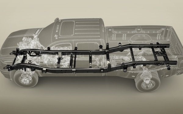 The body-on-frame architecture model of a Chevrolet Silverado pickup