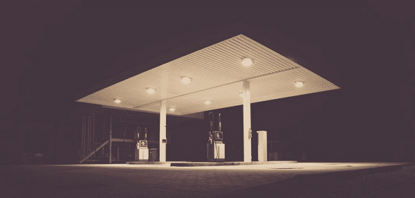 a gas station at night