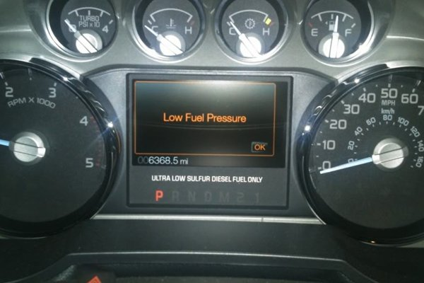 low fuel pressure warning might be a fuel pump symptom of serious damage