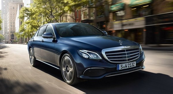 mercedes benz e class e 200 amg line on the road