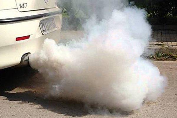 thick white smoke