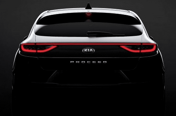 The teaser photo of the rear of the Kia ProCeed 2019