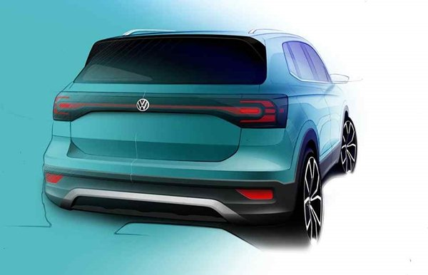 volkswagen t-cross 2019 teaser rendering rear view