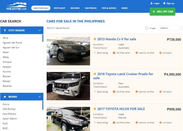 cars for sale on Philkotse.com