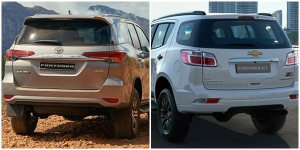 angular rear of the toyota fortuner and chevrolet trailblazer
