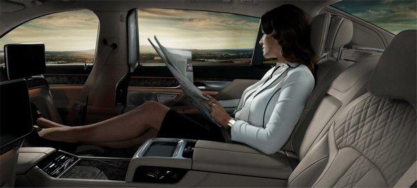 a girl in a comfortable car