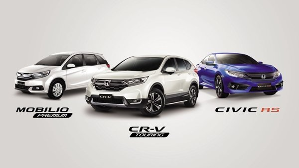 Honda Mobilio 1.5 Premium CVT, Honda CR-V Touring Diesel 9AT, Honda Civic RS Turbo CVT in Brilliant Sporty Blue
