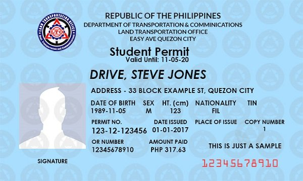Student driving Permit Philippines