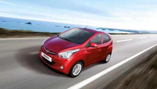 Red Hyundai Eon Mini car