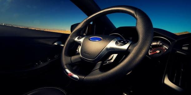the steering wheel of a car