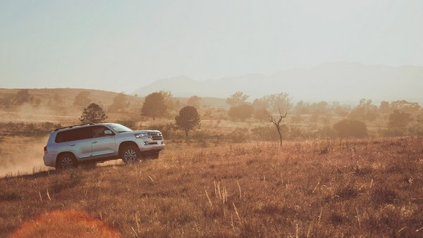2019 toyota land cruiser on the road