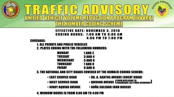 Car coding scheme in paranaque