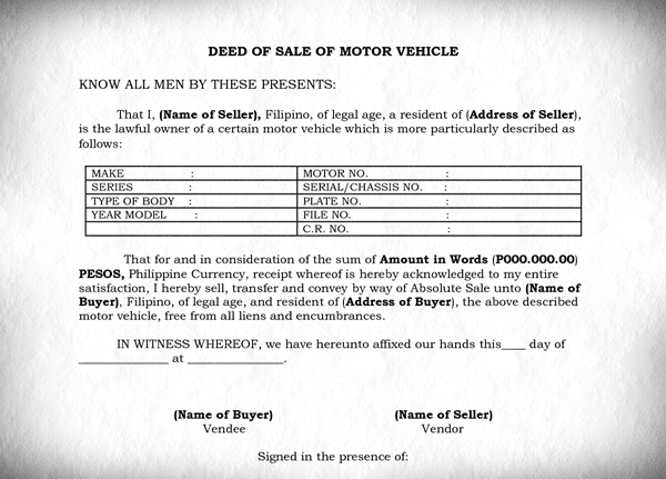 buying required documents_deed of sale