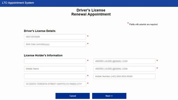 LTO driver's license renewal form