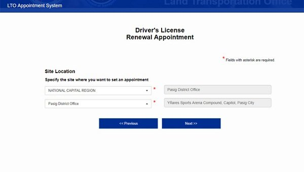 LTO online license renewal_select lto branch