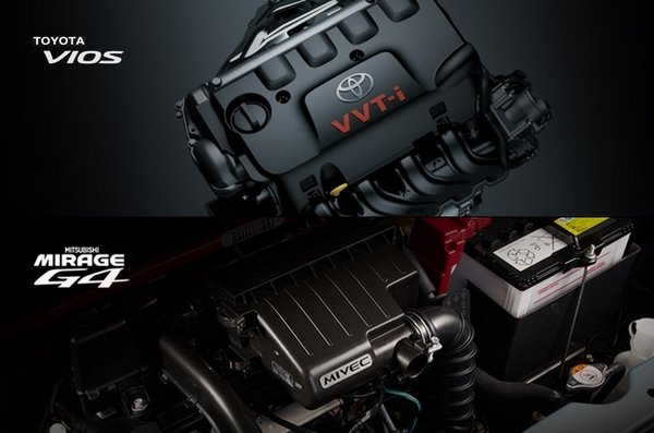 Toyota Vios vs Mitsubishi Mirage G4: Engine
