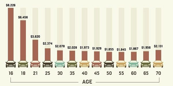 Average car insurance rate by age