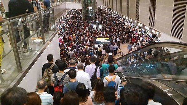 Crowded MRT in the Philippines